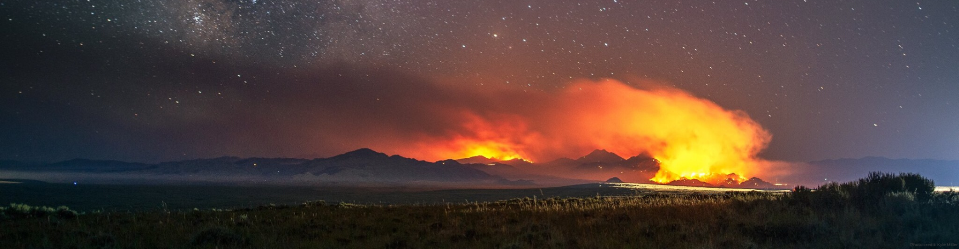 Timelapse photo of prescribed fire at night by Kyle Miller.