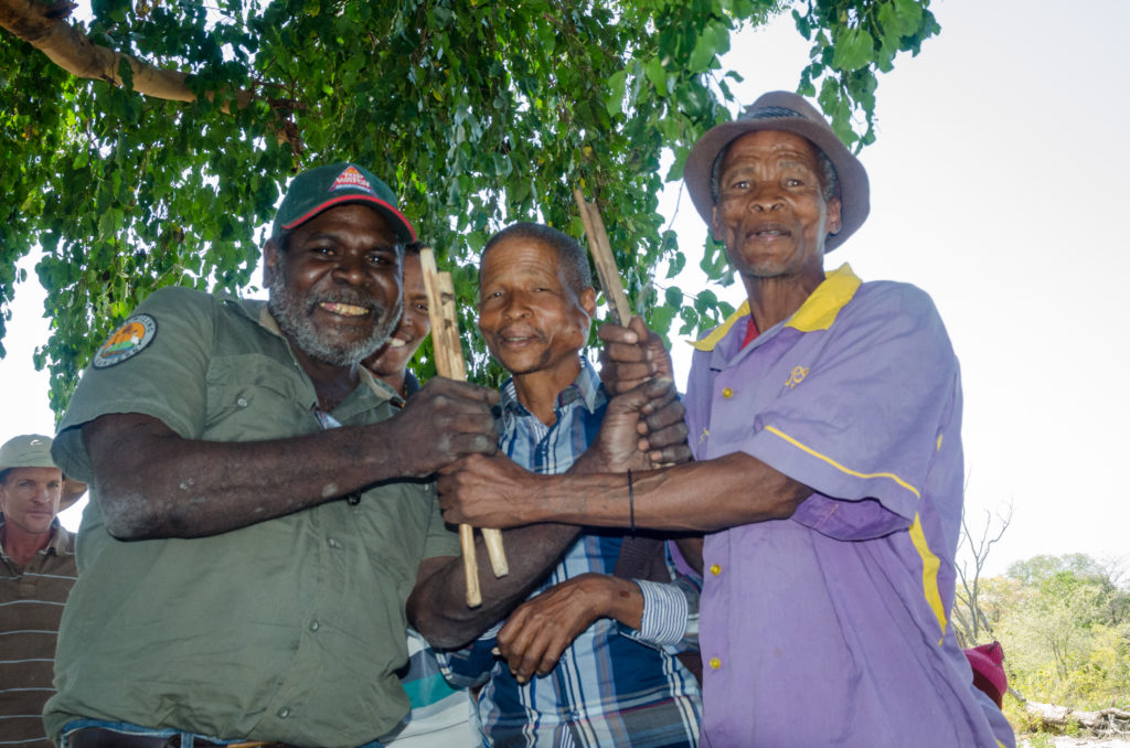 Indigenous ranger from the Kimberley exchanging knowledge with members of the San community from the Tsodilo Hills in Botswana during an ISFMI exchange